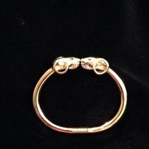 Kenneth Jay Lane Gold Tone & Crystal Ram Bracelet